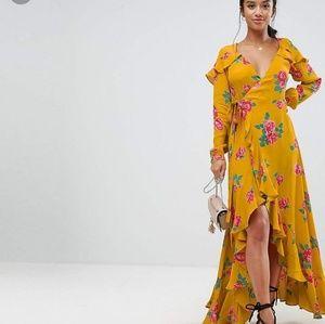 Asos floral ruffle high/low wrap dress size 6
